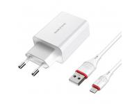 Incarcator Retea cu cablu MicroUSB Borofone BA21A Long Journey, QC 3.0, Smart ID, 18W, 1 x USB, Alb, Blister
