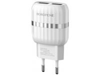Incarcator Retea cu cablu USB Tip-C Borofone BA24A, Smart ID, 2.4A, 2 X USB, Alb, Blister