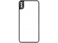 Folie Protectie Spate OEM pentru Apple iPhone X / Apple iPhone XS, Sticla securizata, Full Cover, Full Glue, cu rama metalica, Neagra, Bulk