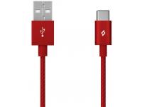 Cablu Date si Incarcare USB la USB Type-C TTEC AlumiCable, 1.2 m, Rosu, Blister 2DK18K
