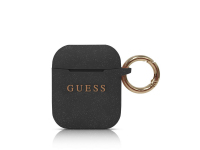 Husa TPU Guess Glitter pentru Airpods 1 / 2, Neagra GUACCSILGLBK