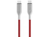 Cablu Date si Incarcare USB Type-C la USB Type-C Forever UltraFast, PD 60W, 1.5 m, Rosu - Argintiu, Blister