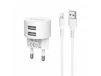 Incarcator Retea cu cablu Lightning Borofone 2.4A, BA23A, 2 X USB, Alb, Blister