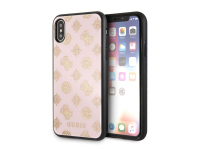 Husa Plastic Guess Layer Glitter Peony pentru Apple iPhone X, Roz, Blister GUHCPXTGGPLP