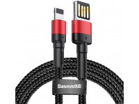 Cablu Date si Incarcare USB la Lightning Baseus Cafule 2.4A, 1 m, Negru - Rosu, Blister CALKLF-G91