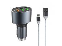 Incarcator Auto cu cablu Lightning Ldnio C703Q, 3,6A, QC 3.0, 3 x USB, Negru, Blister