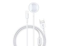 Dock incarcare USAMS pentru Apple Watch 1 / 2 / 3 / 4 cu cablu Lightning, 2in1, Alb, Blister CC076WH01