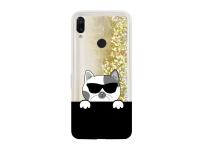 Husa TPU OEM LIQUID CAT pentru Xiaomi Redmi 7, Aurie - Neagra, Bulk