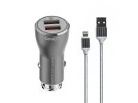 Incarcator Auto cu cablu Lightning Ldnio C407Q, Quick Charge 3.0, 2 X USB, Argintiu, Blister