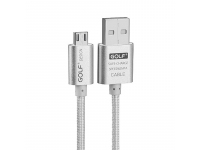 Cablu Date si Incarcare USB la MicroUSB Golf GC-10m, 1 m, Argintiu, Blister