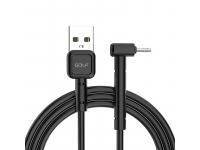 Cablu Date si Incarcare USB la MicroUSB Golf GC-69M, 3A, Forma L, 1 m, Negru, Blister