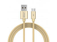 Cablu Date si Incarcare USB la MicroUSB Golf GC-76M, 1 m, Auriu, Blister