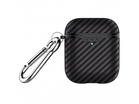 Husa Protectie Fibra Carbon OEM pentru Apple AirPods 1/2, Neagra, Blister