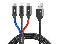 Cablu Incarcare USB la Lightning - USB la MicroUSB - USB la USB Type-C WiWu YZ-102, 3A, 3in1, 1.2 m, Negru, Blister