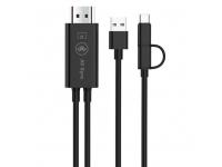 Cablu Audio Video HDMI la MicroUSB - HDMI la USB Type-C - USB la HDMI OEM 1080P HDTV, Negru, Bulk