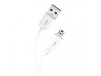 Cablu Date si Incarcare USB la MicroUSB XO Design NB120, 5A, 1 m, Alb, Blister