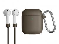 Husa silicon cu snur casti pentru Apple Airpods 1 / 2 Uniq Vencer, Bej, Blister