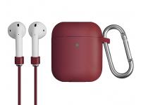 Husa silicon cu snur casti pentru Apple Airpods 1 / 2 Uniq Vencer, Grena, Blister