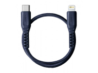 Cablu Date si Incarcare USB Type-C la Lightning UNIQ Flex, 0.3 m, Albastru, Blister