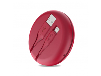 Cablu Date si Incarcare USB la Lightning UNIQ Halo, cu Organizator, 1.2 m, Rosu, Blister