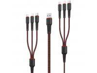 Cablu Date si Incarcare 2 x USB la Lightning - 2 x USB la MicroUSB - 2 x USB la USB Type-C Remax RC-153, 5A,1m + 2m, Negru, Blister