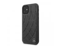 Husa Piele MERCEDES Genuine Leather pentru Apple iPhone 11, Neagra, Blister MEHCN61DIQBK