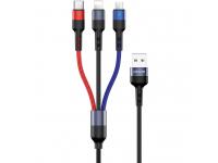 Cablu Date si Incarcare USB la Lightning - USB la MicroUSB - USB la USB Type-C Usams U26, PD Fast Charge 2A, 3 m, Multicolor, Blister US-SJ412