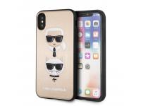 Husa Piele - Plastic Karl Lagerfeld Choupette pentru Apple iPhone X / Apple iPhone XS, Aurie, Blister KLHCPXKICKCSGO