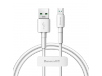 Cablu Date si Incarcare USB la MicroUSB Baseus 4A, 1 m, Alb, Blister CAMSW-D02