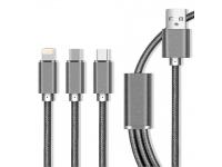 Cablu Incarcare USB la Lightning - USB la MicroUSB - USB la USB Type-C MaXlife 3in1, 2.1A, 1 m, Gri, Blister