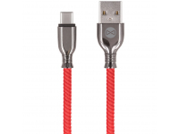 Cablu Date si Incarcare USB la USB Type-C Forever Core Tornado, 3A, 1 m, Rosu, Blister