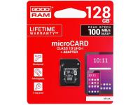 Card Memorie MicroSD GoodRam cu adaptor, 128Gb, Clasa 10 - UHS-1 U1, Blister