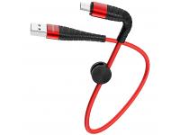 Cablu Date si Incarcare USB la MicroUSB Borofone BX32 Munificent, 0.25 m, Rosu, Blister
