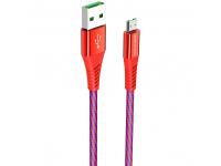 Cablu Date si Incarcare USB la MicroUSB Borofone BU13 Craft, 4A, 1.2 m, Rosu, Blister