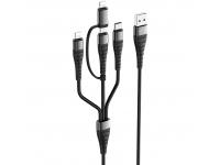 Cablu Date si Incarcare 2xUSB la Lightning - USB la MicroUSB - USB la USB Type-C Borofone BX32 Munificent 4-in-1, 1 m, Negru, Blister