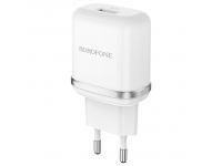 Incarcator Retea cu cablu USB Tip-C Borofone BA36A, QC3.0, 18W, 1 X USB, Alb, Blister