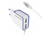 Incarcator Retea cu cablu MicroUSB Borofone BA35A Brilliant 2.1A, 2 X USB, Alb, Blister
