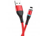 Cablu Incarcare USB la Lightning Borofone BU16 Skill Magnetic, 2.4A, 1.2 m, Rosu, Blister