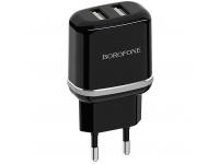Incarcator Retea cu cablu MicroUSB Borofone BA25A Outstanding, 2 X USB, Negru, Blister