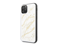 Husa Plastic - TPU Guess pentru Apple iPhone 11 Pro Max, Marble Glass, Alba, Blister GUHCN65MGGWH