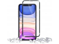 Folie Protectie Ecran Ringke pentru Apple iPhone 11, Sticla securizata, Full Face, Full Glue, ID Diamond, Neagra, Blister