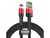 Cablu Date si Incarcare USB la Lightning Baseus 1.5A, 2 m, Negru - Rosu, Blister CALKLF-H91