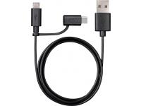 Cablu Date si Incarcare USB la MicroUSB - USB la USB Type-C Varta 2in1, 1 m, Negru, Blister
