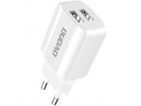 Incarcator Retea USB Dudao A2EU, 2.4A, 2 X USB, Alb, Blister