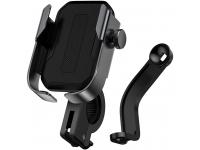 Suport Bicicleta Universal Baseus pentru telefon, Metal Armor, Cu Prindere Pe Ghidon Si Oglinda, Negru, Blister SUKJA-01