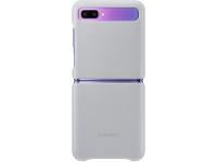 Husa Piele Samsung Galaxy Z Flip F700, Leather Cover, Argintie, Blister EF-VF700LSEGEU