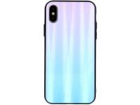 Husa TPU OEM Aurora cu spate din sticla pentru Apple iPhone 7 / Apple iPhone 8 / Apple iPhone SE (2020), Albastra-Roz, Bulk