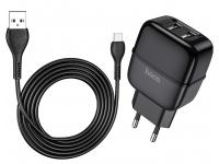 Incarcator Retea cu cablu USB Tip-C HOCO C77A, 2xUSB, 2,4A, Negru, Blister