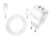 Incarcator Retea cu cablu USB Tip-C HOCO C77A, 2xUSB, 2,4A, Alb, Blister