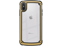 Husa Plastic - TPU OEM Solid Frame pentru Apple iPhone X / Apple iPhone XS, Aurie Transparenta, Bulk